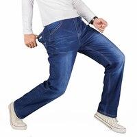 Men Patches Large Size Loose Cotton Jeans Male High Quality Fashion Solid Biker Pants Classic Light
