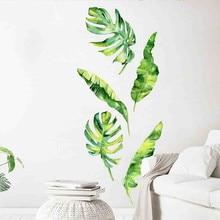 Autocollant mural en vinyle avec plantes vertes tropicales dété, stickers muraux, décorations pour la maison, pour chambre denfant