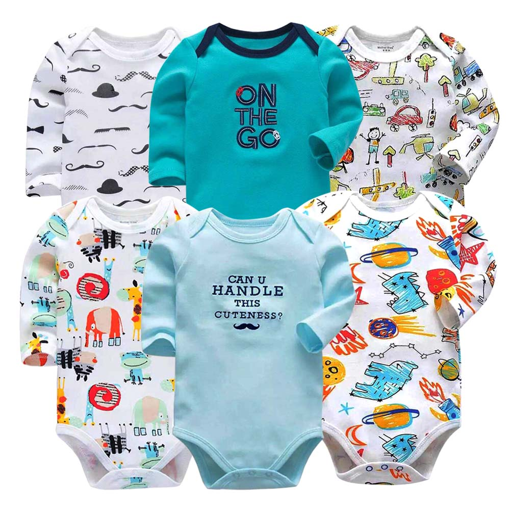Image 5 - Baby Bodysuit Fashion 6pieces/lot Newborn Body Baby Long Sleeve Overalls Infant Boy Girl Jumpsuit kid clothes-in Bodysuits from Mother & Kids