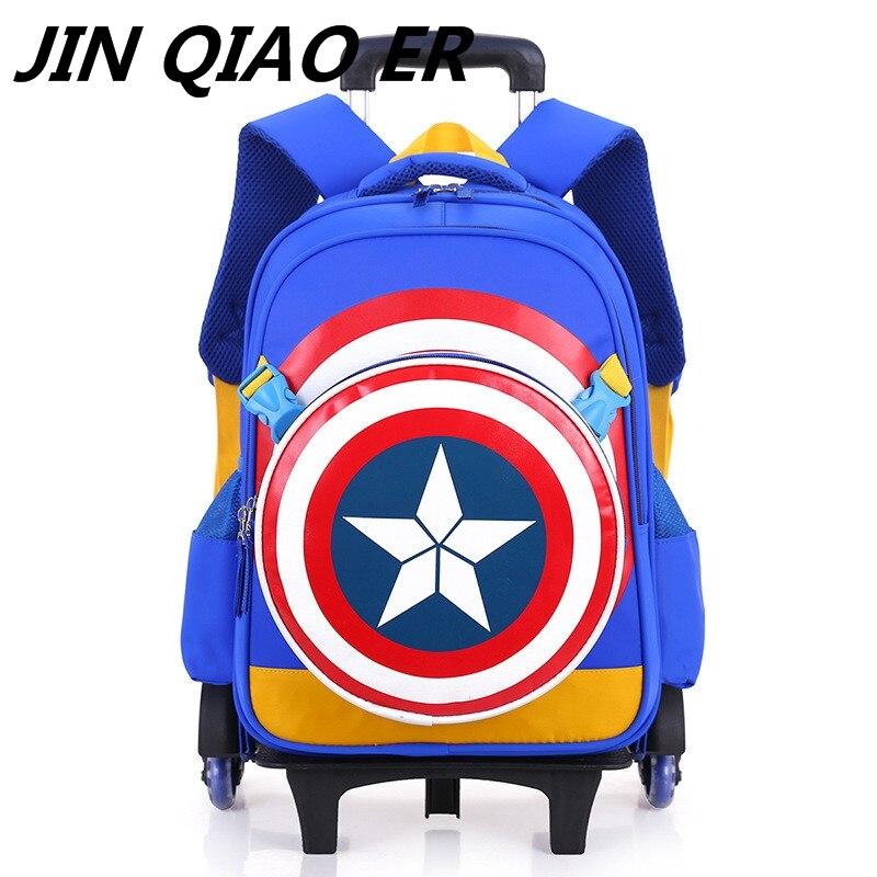 2/6 바퀴 초등학교 여행 트롤리 가방 캡틴 아메리카 어린이 트롤리 소년과 3d 배낭 학교 가방 어린이 휠-에서학교가방부터 수화물 & 가방 의  그룹 1
