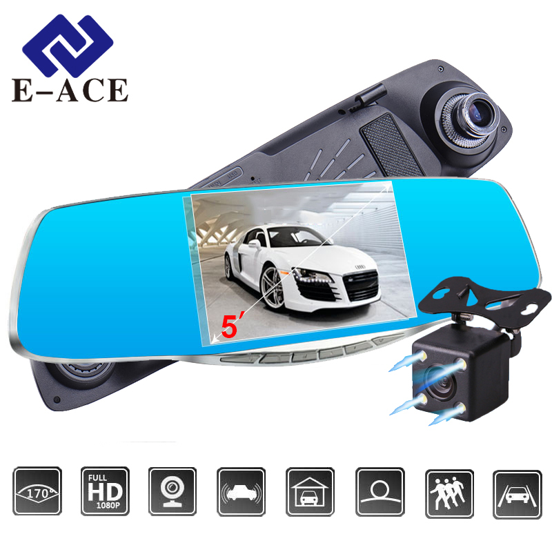 "E-ACE Car DVR 5.0 ""Car camera Full HD 1080P Night Vision Auto Video Recorder Rear view Mirror Dual Lens Parking Monitor Dash Cam"