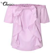 Celmia 2018 Summer Sexy Women Blouses Slash Neck Off Shoulder Short Sleeve Casual Tops Shirt Striped Ruffle Bow Blusas Plus Size