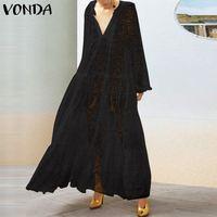 Plus Size Maxi Dress Women Summer Hollow Out Sundress 2019 VONDA Female V Neck Long Vestisos Long Sleeve Transparent Robe Femme