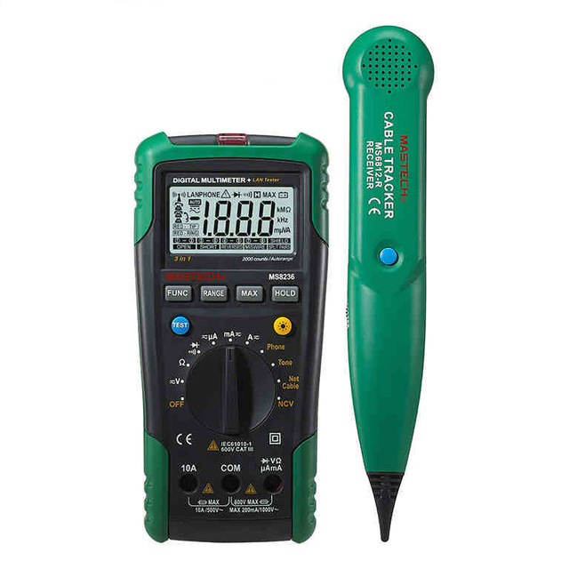 MASTECH MS8236 Digital Multimeter 2-in-1 Auto Range Network Cable Track Tester Wire Line Telephone Tracker network analyzer