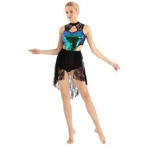 Image 4 - Tiaobug vestido collant assimétrico brilhante, sem mangas, renda, collant, mulheres, figura, skate, vestido contemporâneo, traje de dança