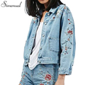 Bordado retro curto jean jacket 2016 outono nova floral fino luz azul mulheres jaquetas casacos vintage outwear casaco bolsos venda