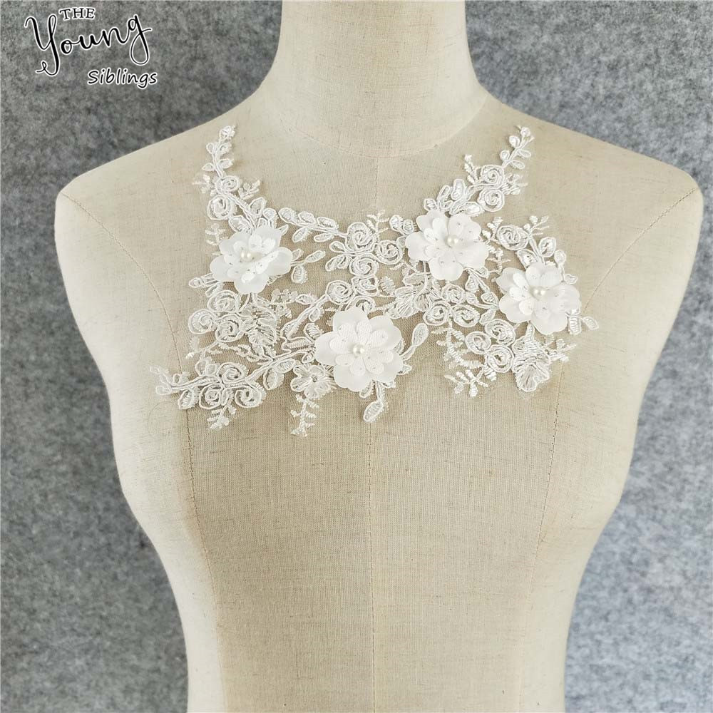 1pcs White Lace Fabric Exquisite 3D Flower Lace Applique neckline collar DIY Clothing Accessory Lace Embroidery Sewing craft