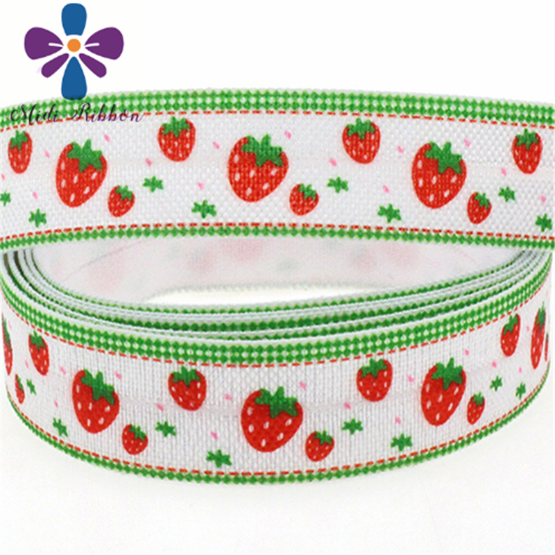 """50yards/Lot 5/8""""16mm Strawberry Patterns Printed Fold Over ..."""