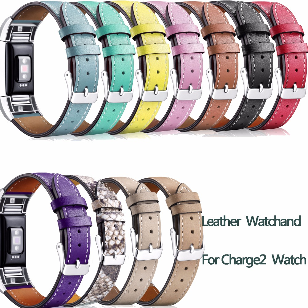 Hot Leather Strap Band For Fitbit Charge 2 Accessories Leather Watchband Strap for Fitbit Charge2 Bands With Steel Buckle crested stainless steel watch band for fitbit charge 2 bracelet smart watch strap for fitbit charge2 with connector