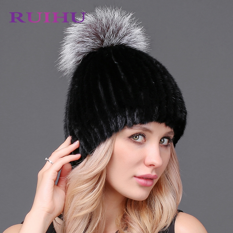 RUIHU Solid Women Winter Thick Hat Mink Fur Pompom For Female Lady Fashion Cap Casual Beanies Mujer Touca Inverno RHM622 poa lmp129 for eiki lc xd25 projector lamp with housing