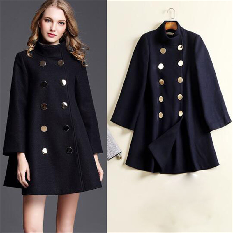 Navy Blue 2019 Autumn Women Woolen Coat Outerwear Long Sleeve Female Medium-Long Trench Sweet Casual Jacket Ma339