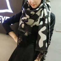 Koe Luipaardprint Imiteren Kasjmier Zijde Hijab Sjaal Warm Houden Sjaal Liefhebbers Cachecol Foulard Sjaals Pashmina Shrugs Voor Vrouwen