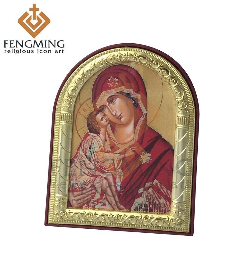 """Cristiano Vergine Maria icona ortodossa russa-Oro e Argento-LARGE SIZE 16/"""""""