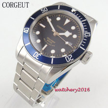 лучшая цена 41mm Corgeut black dial sapphire glass date adjust miyota automatic movement Men's watch