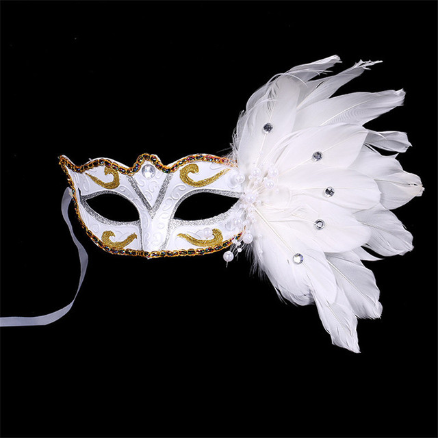 Venetian Masquerade Mask on Stick Mardi Gras Costume Eyemask Printing  Halloween Carnival Hand Held Stick Feathers Party Mask