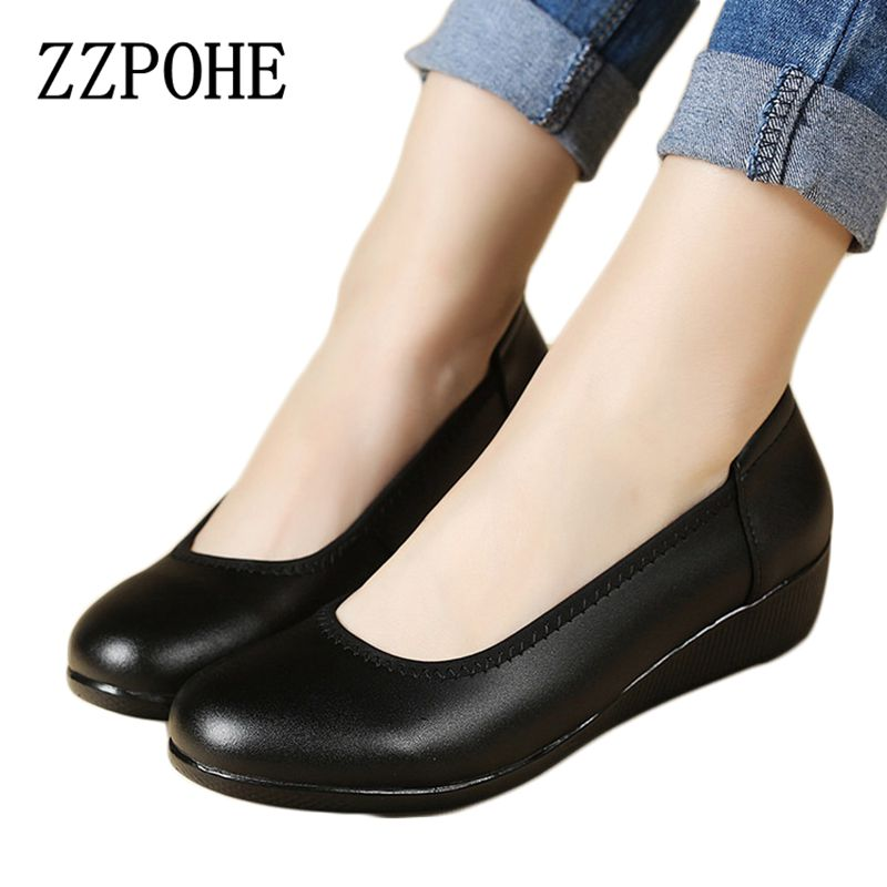ZZPOHE Soft Soled Leather Woman Shoes Slippers Round With Casual Women Black Work Single Shoes Large Size Ladies Shoes