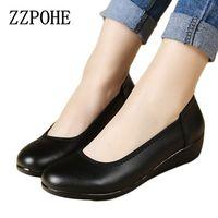 ZZPOHE Suave suela zapatos de mujer zapatillas de cuero redondo con las mujeres ocasionales zapatos de trabajo negros solos zapatos de gran tamaño zapatos de las señoras