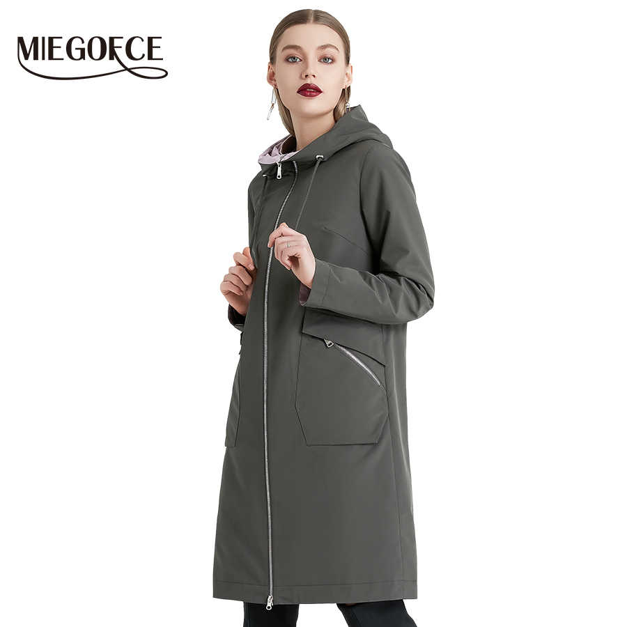 MIEOGOFCE 2019 Spring and Autumn Long Women's Windbreaker Warm Women's Cotton Jacket With Stand Collar New Design
