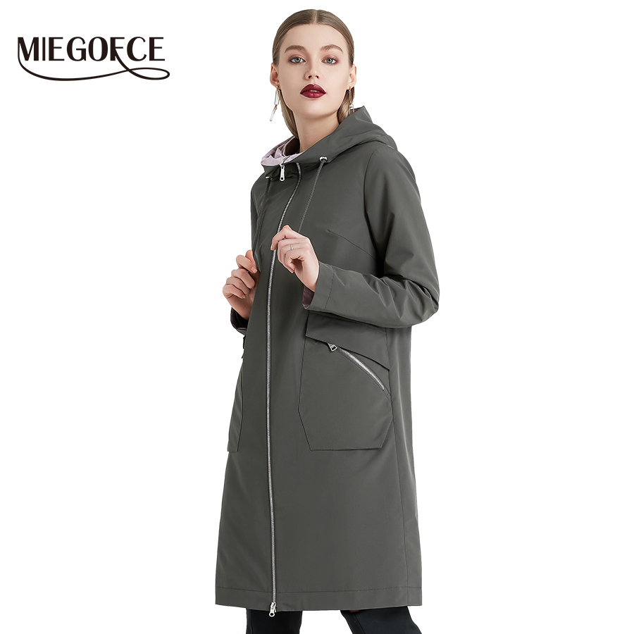 MIEOGOFCE 2019 ฤดูใบไม้ผลิและฤดูใบไม้ร่วงผู้หญิง Windbreaker Warm ผ้าฝ้ายผู้หญิงเสื้อแจ็คเก็ต Stand Collar ออกแบบใหม่-ใน โค้ทยาว จาก เสื้อผ้าสตรี บน   1