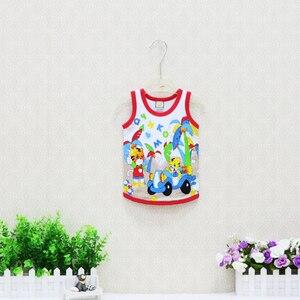Image 2 - Camisetas sin mangas para niños y niñas, ropa fina de algodón 2019, 10 unidades/lote, camisetas con cuello redondo, 100%