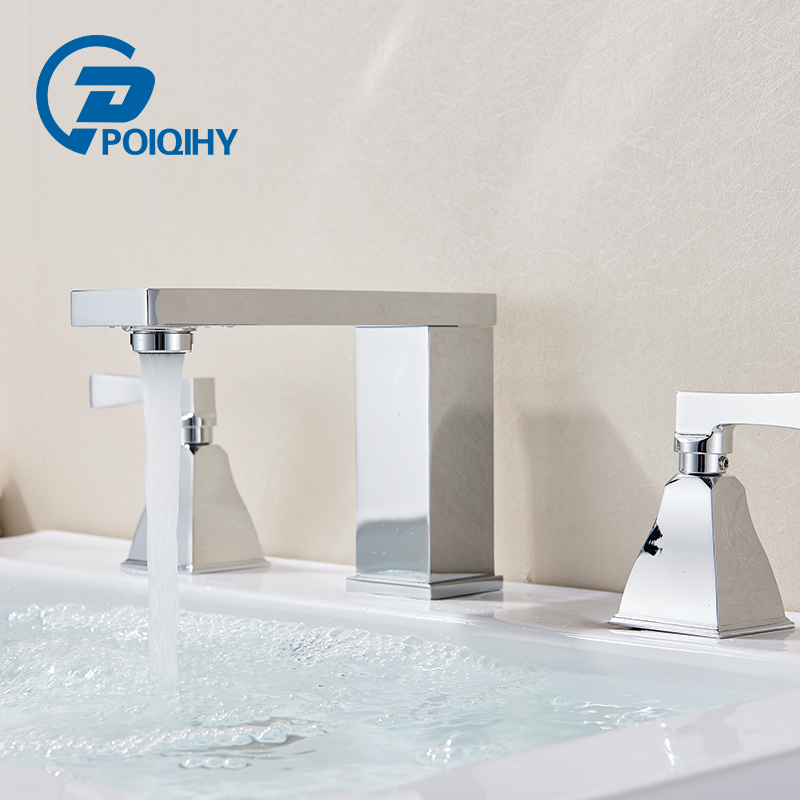 POIQIHY Chrome Polished Deck Mounted Basin Faucet Widespread Dual Handles Triple Holes Bathroom Faucet 3pcs Sink Mixer Taps chrome polished bathroom sink faucet 3pcs double handles three holes basin faucet deck mounted