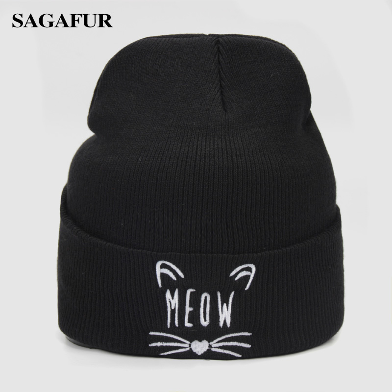 Warm Knitted Hat Female Quality Letter Embroidery Cute Kitten Hat Women's Winter Fashion Casual Skullies Beanies Men Cap For Boy