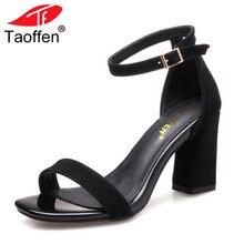 b7cfe488e TAOFFEN Peen Sapatos Dedo Do Pé Das Mulheres Sandálias de Salto Alto  Tornozelo Mulheres Fivela Sandálias de Salto Grosso Sexy Co.