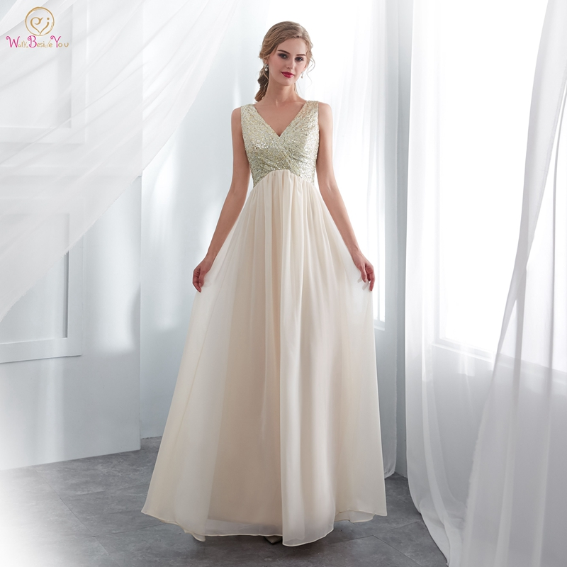 Cheaper Evening Dresses 2019 Hot Sale Simple A Line Sleeveless V Neck Chiffon Sequined Floor Length Robe De Soiree Prom Gown