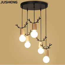 JUSHENG Modern Wood Pendant Light Iron Minimalist Retro Loft 1/3/5 Heads Lamp Metal Hanging E27 Indoor