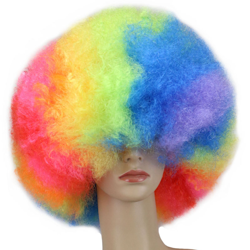 QQXCAIW Short Culry Cosplay Party Wig Red Green Puprle Pink Black Blue White Brown Yellow Blonde Dance Afro Wigs Synthetic