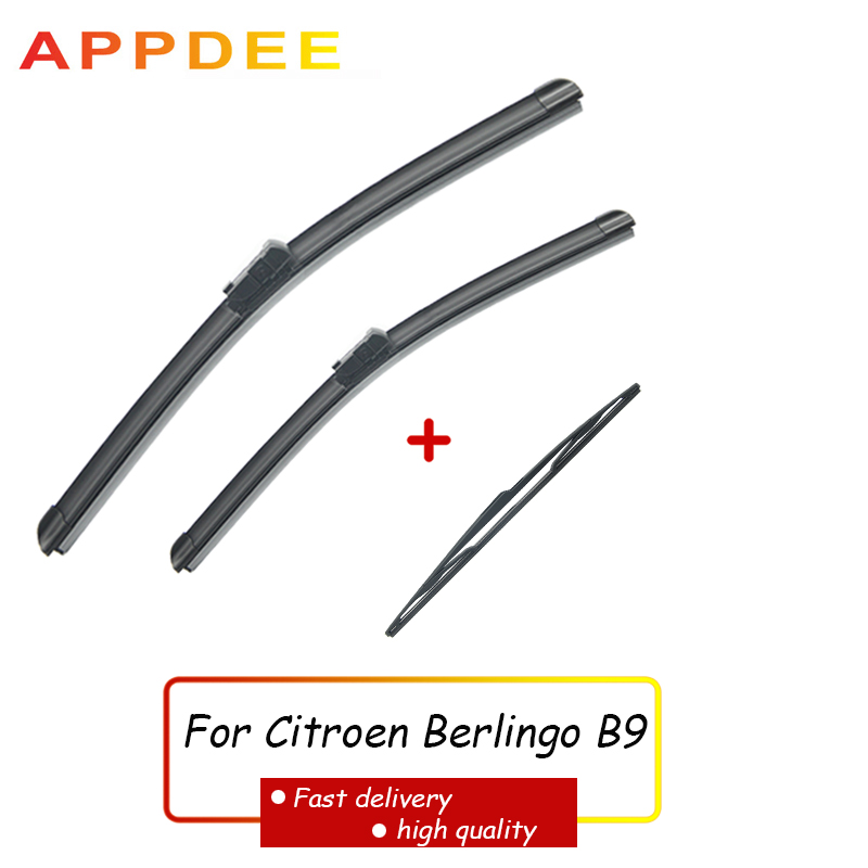 APPDEE Wiper Front Rear Wiper Blades Set For <font><b>Citroen</b></font> <font><b>Berlingo</b></font> B9 <font><b>2008</b></font> - 2017 2016 2015 2014 Windshield Windscreen 26