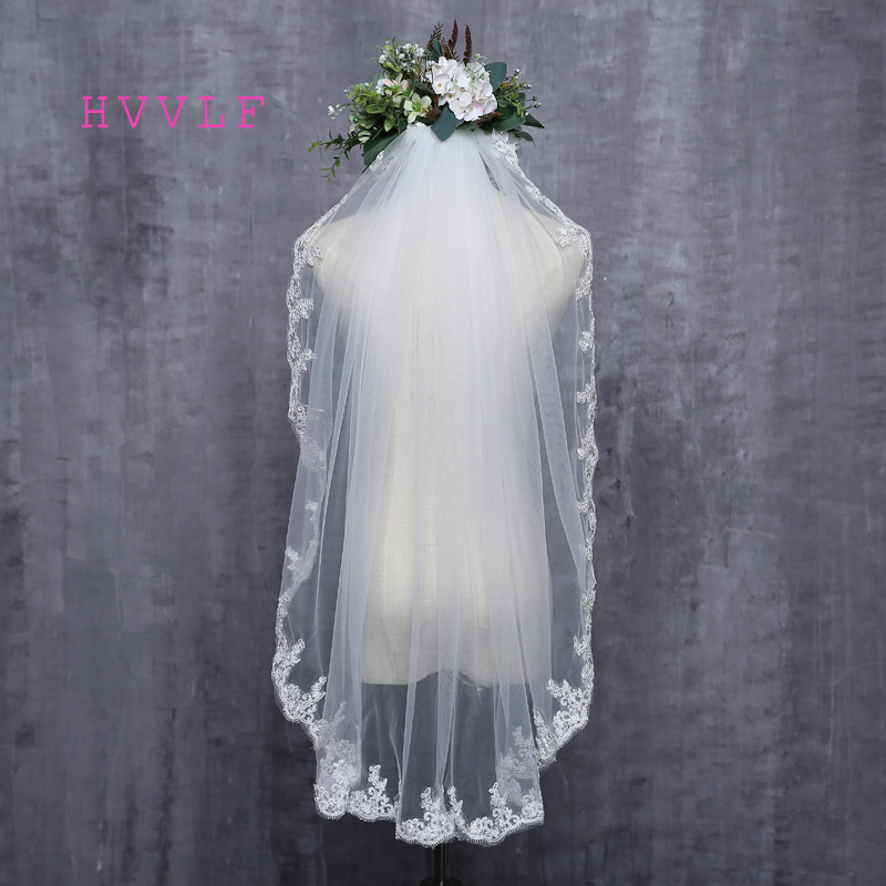 2019 New New Arrival Diamond Veil Short Design Single Layer Wedding Veil Bridal Dress Middle Length With Comb