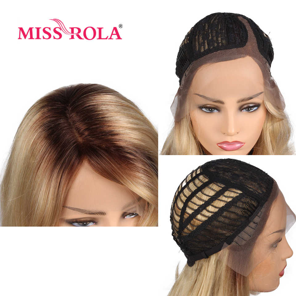 Miss Rola волнистые волосы Омбре блонд жаростойкий синтетический парик фронта шнурка 21 дюймов T Часть Кружева Закрытие парик