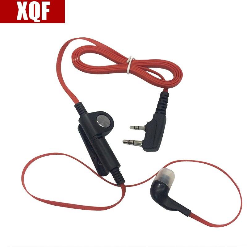 XQF Mode Rouge Couleur dans l'oreille style casque écouteur 2 broches K plug pour baofeng kenwood puxing wouxun deux façon radio