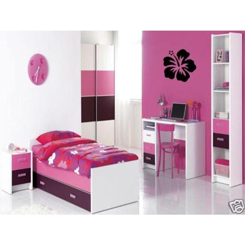hibiscus flower wall art decal vinyl girls home bedroom decoration beautiful flower mural art sticekr 24inch wide - Shop Bedroom Decor