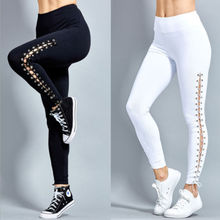 4e28c3f6be7b1 Women High Waist Fitness Leggings Lace Up Black White Solid Trousers(China)