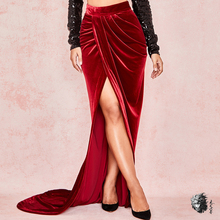 Темно-красные вельветовые длинные женские макси юбки Jupe с высоким разрезом плиссированные юбки женские элегантные сексуальные вечерние Клубное платье Зима Новые