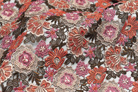 4yards Multi colored Venice Lace Fabric Antique Crocheted Floral Lace Bridal Gown Dress Fabric