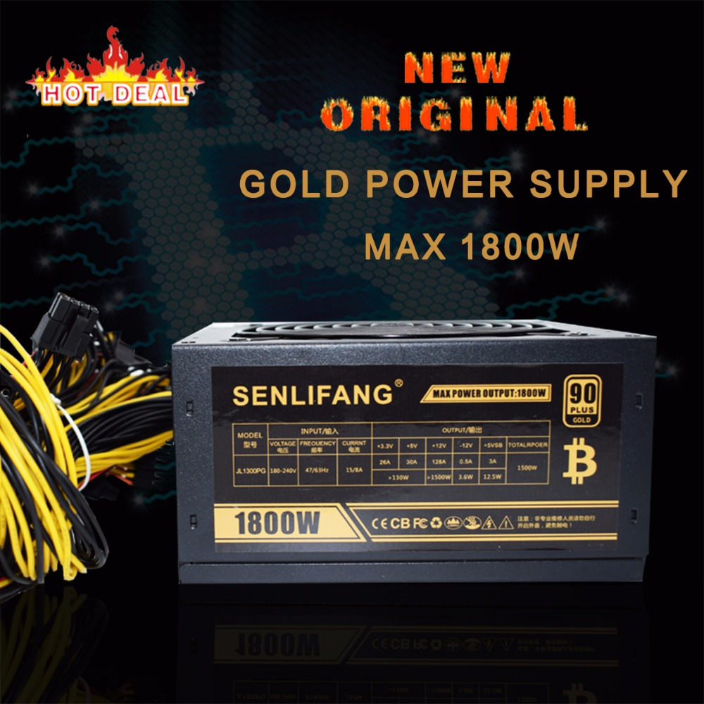 New original Gold POWER 1800W BTC power supply for R9 380 RX 470 RX480 6 GPU