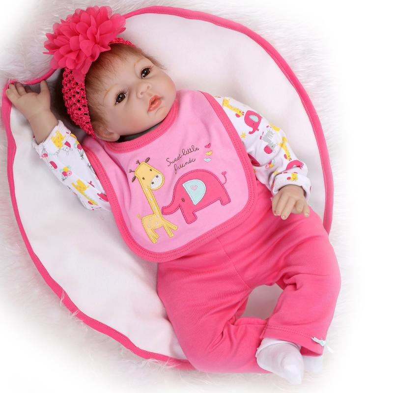 22inch 55cm Silicone reborn dolls babies soft real touch baby sleeping dolls for girls birthday gift bonecas reborn