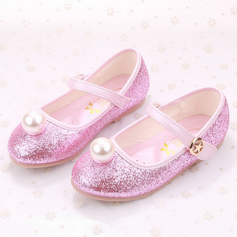 Fashion kids Flats girls leather princess shoes girls wedding childrens dress student school Pearl dancing shoes