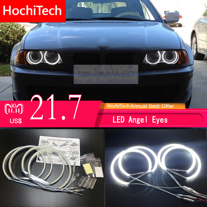 HochiTech for BMW E36 E38 E39 E46 projector Ultra bright SMD white LED angel eyes 2600LM 12V halo ring kit daytime light 131mmx4 3014 smd led angel eyes wholesale price 131mm x 4 halo rings kit best quality car daytime headlight for bmw e46 e38 e36 e39