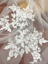 5 Pairs TRANSLUCENT Sequin Cottom Embroidery Lace Applique Pair in Off White, Mesh Bridal