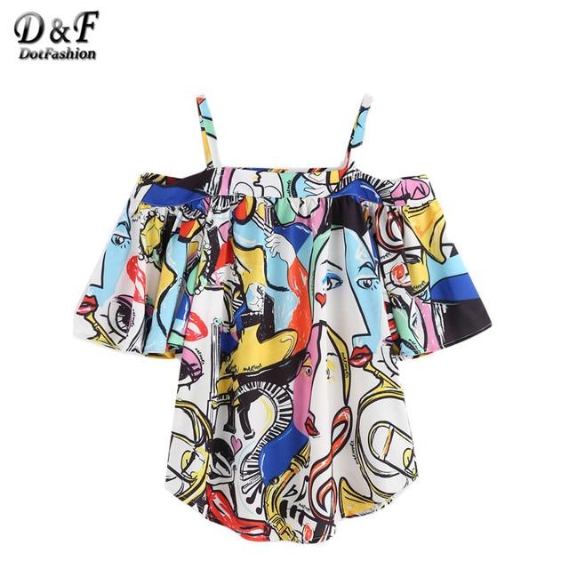 Dotfashion Mulheres Blusa Camisa Das Mulheres do Estilo Solto Camisas Casual Tops Bonito Ombro Frio Abstrato Impressão Top Blusa