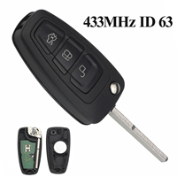 Maizhi 433MHz 4D63 Chip 3 Buttons FOB Flip Folding Remote Car Key For Ford Focus Fiesta