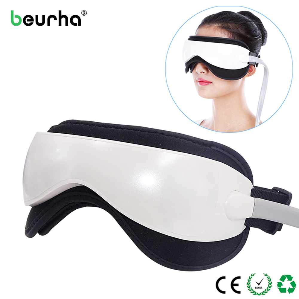 Beurha Electric DC Vibration Eye Massager Machine Music Magnetic Air Pressure Infrared Heating Massage Glasses Eyes