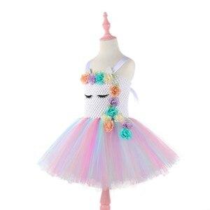 Image 4 - Moeble Flower Unicorn tutu Dresses girls with headband Halloween Christmas Cosplay Costume Children Kids Birthday party dresses