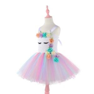 Image 4 - Moeble robes tutu licorne avec bandeau pour filles, Costume Cosplay, Halloween, noël, robes de fête danniversaire pour enfants