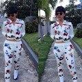 2016 Nuevas Mujeres de La Manera CALIENTE de Clubwear Sexy Party Mamelucos 2 Unidades de Impresión Bodycon Monos Playsuits Vesitdos Bodywear Del Mono