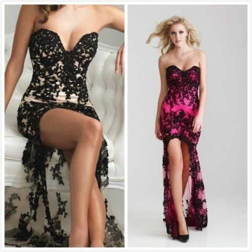 Hot Sexy Hot Pinkblack Lace Gown Prom Ball Party Wedding Dresses